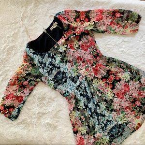 Floral blue pink dress sz 5 zipper closure
